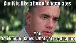 "Forrest Gump saying ""Audit is like a box of chocolates; you don't never know what you gonna get"""