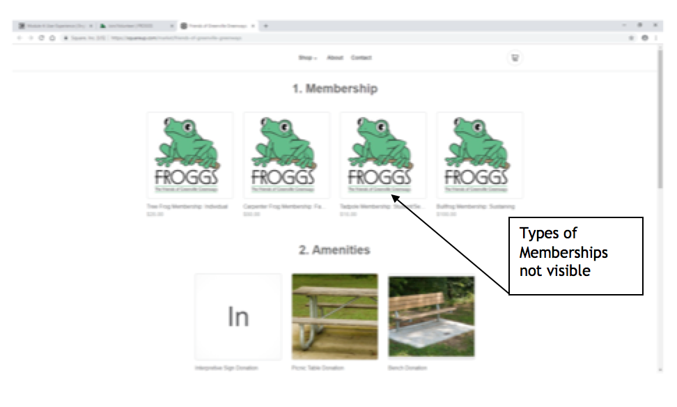 "A screenshot of the Froggs website with a callout box that says ""types of membership not visible"""