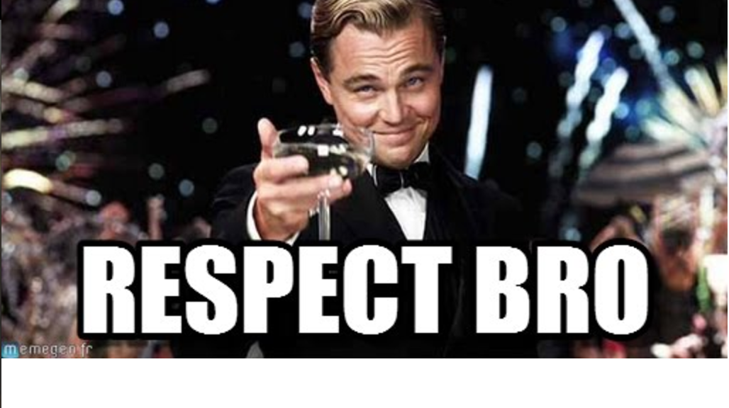 "Leonardo DiCaprio holding out a glass with the words ""respect bro"""