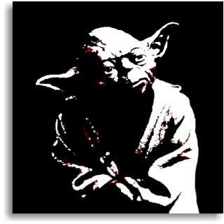A black and white photo of Yoda