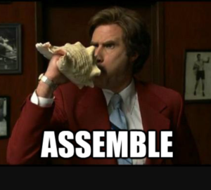 The character Ron Burgundy with a conch horn and the word Assemble