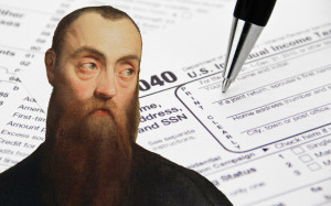 A photo of a famous philosopher in front of a tax form