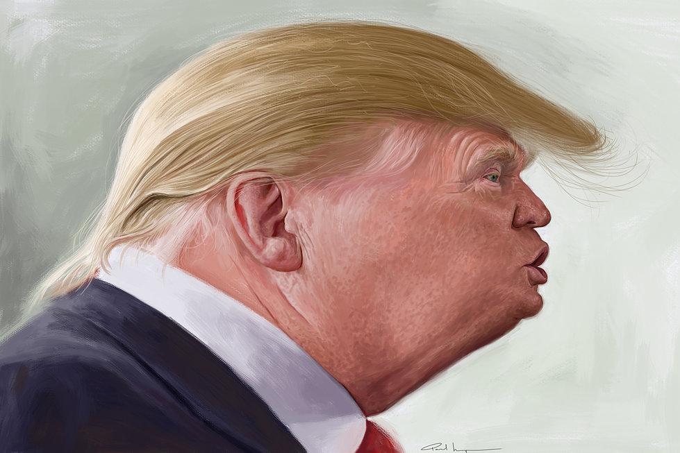 A caricature of Donald Trump