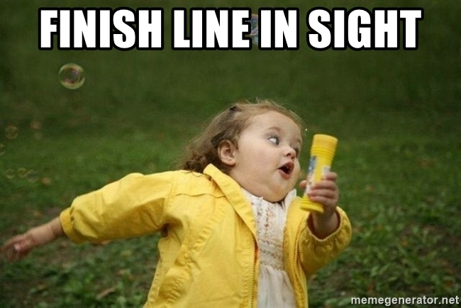 """A child running with the words """"finish line in sight"""""""